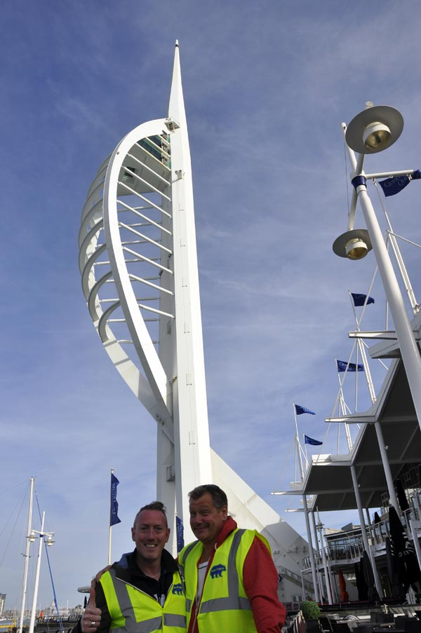 Danny Dwyer and Jason Sutton arrive at Gunwharf Quays at 6.30am this morning